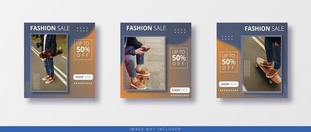 Post na instagramie ze sprzedażą nowoczesnej mody i szablon banera mediów społecznościowych