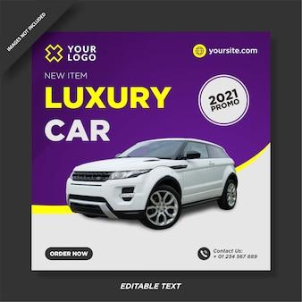 Post promocyjny na instagramie sprzedaży luksusowych samochodów