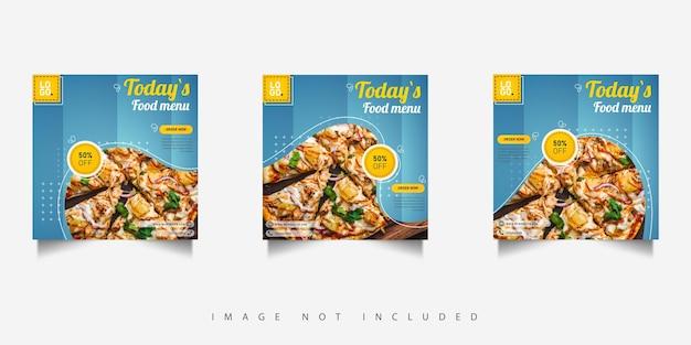 Post promocyjny żywności w mediach społecznościowych z niebieskim gradientem