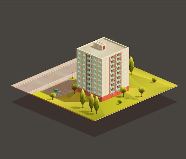 Post radziecka wieża blok mieszkalny izometryczny realistyczna ilustracja