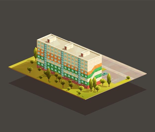 Post sowiecki blok mieszkalny izometryczny realistyczna ilustracja