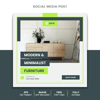 Post w mediach społecznościowych do projektowania wnętrz domowych z meblami