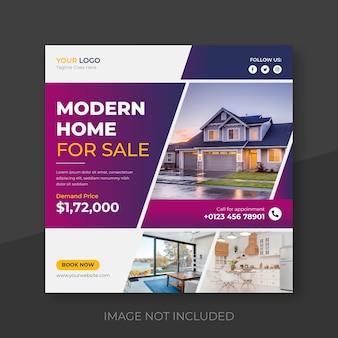 Post w mediach społecznościowych domu nieruchomości lub kwadratowy szablon baneru na instagramie wektor premium