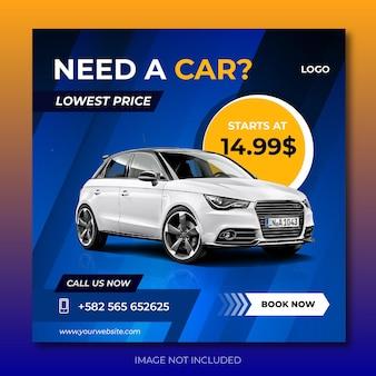 Post w mediach społecznościowych dotyczący wypożyczalni samochodów