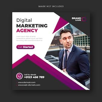 Post w mediach społecznościowych i baner internetowy na webinarium z marketingu cyfrowego