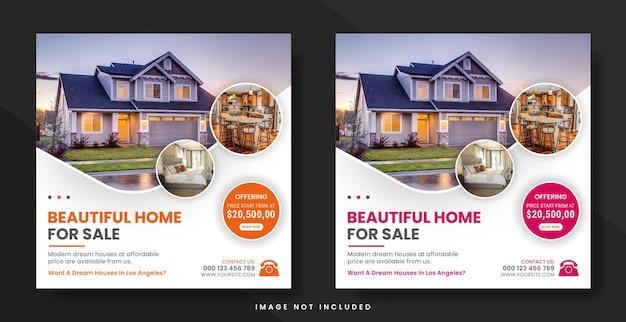 Post w mediach społecznościowych nieruchomości lub szablon banera