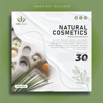 Post w mediach społecznościowych o urodzie i kosmetykach naturalnych