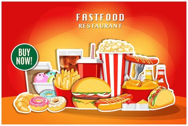 Post w mediach społecznościowych restauracji fast food banner