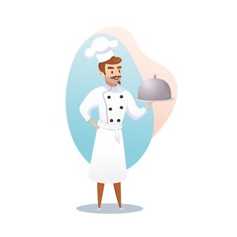 Postać z kreskówki shef gotować trzyma gotowe danie