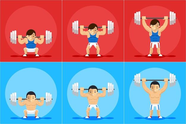 Postać animacji w podnoszeniu ciężarów. trening sportowy, sztanga i siła, porządek i manual