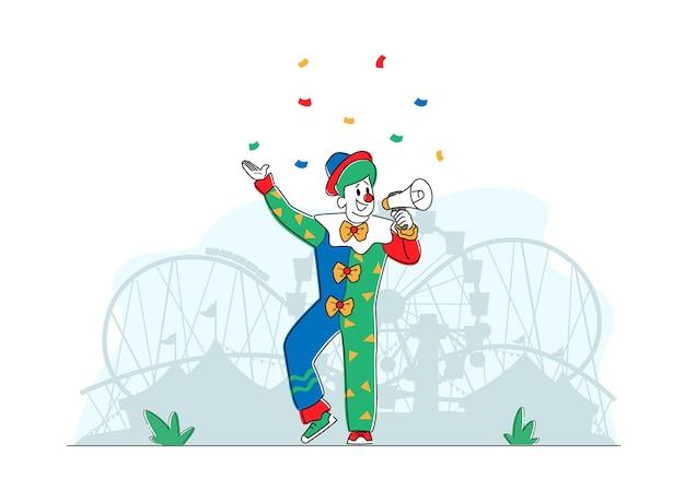 Postać animatora w śmiesznym kostiumie klauna, butach, zielonej peruce i krawacie