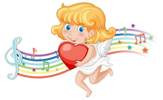 Postać anioła amorka z symbolami melodii na tęczy