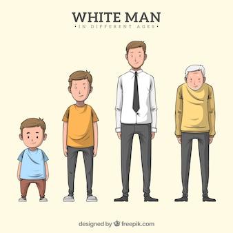 Postać białego człowieka w różnym wieku