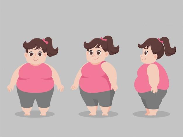 Postać big fat woman na odchudzanie styl życia opieka zdrowotna