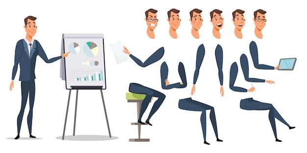 Postać biznesmena i zestaw emocji, części ciała przedsiębiorcy i pakiet artykułów biurowych, wesoła płaska ilustracja pracownika korporacyjnego, kierownik wykonawczy z tablicą ze schematem wykresów