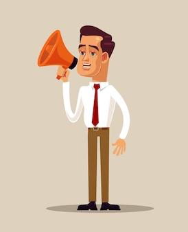 Postać biznesmena pracownika biurowego trzymającego megafon głośnomówiący