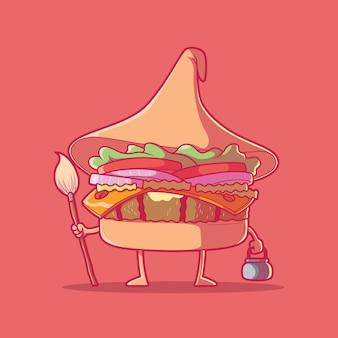 Postać burger ubrany jak ilustracja wektorowa czarownicy jedzenie halloween upiorny projekt koncepcji