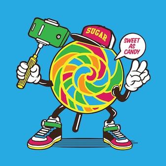 Postać candy lollypop selfie
