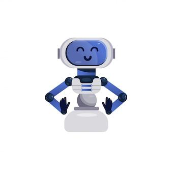 Postać chatbota. przyjazny robot na białym tle. ilustracja wektorowa dzieci w stylu płaski. wesoły chatbot, uśmiechnięta zabawka androida. urocza postać robota, asystent bota online.
