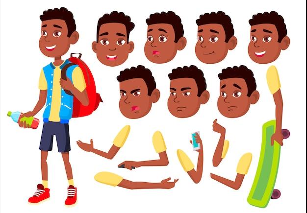 Postać chłopca dziecka. afrykanin. kreator tworzenia animacji. twarz emocje, ręce.