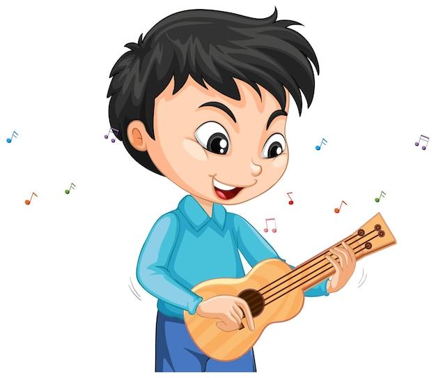 Postać chłopca grającego na ukulele na białym tle