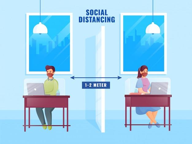 Postać chłopca i dziewczyny pracujących w odległości 1-2 metrów przy oddzielnym stole, aby zapobiec koronawirusowi.