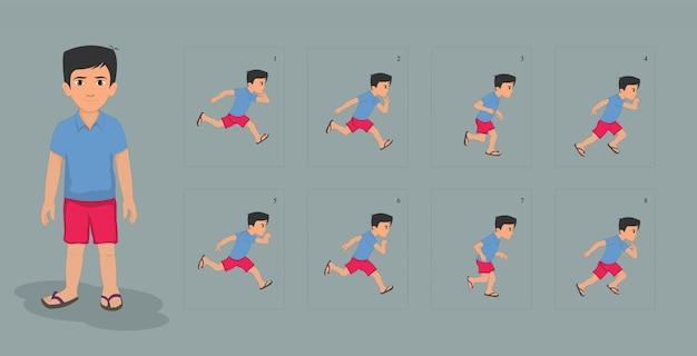 Postać chłopca z arkuszem animacji animacji cyklu biegowego