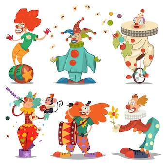 Postać cyrkowego klauna w różnych akcjach