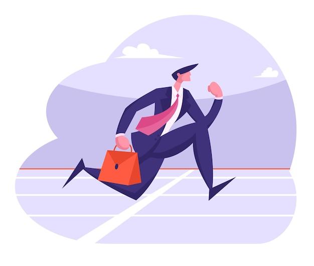 Postać człowieka biznesowego sukcesu w prowadzeniu wyścigu sprintu