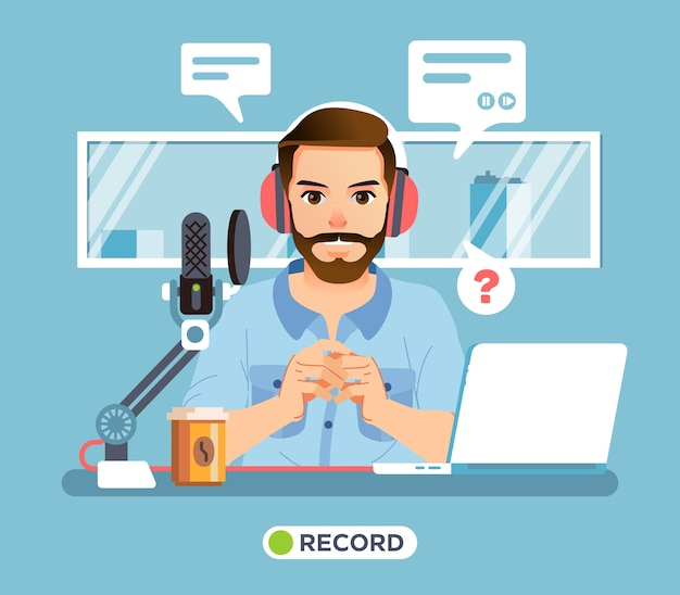 Postać człowieka siedzącego w sali nadawczej radia z mikrofonem, kawą, laptopem na biurku i oknem jako tło. używany do plakatów, obrazów marketingowych i innych