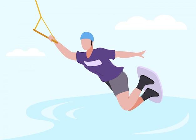 Postać człowieka w odzieży ochronnej wakeboarding