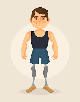 Postać człowieka z protezą stopy. ilustracja kreskówka płaska
