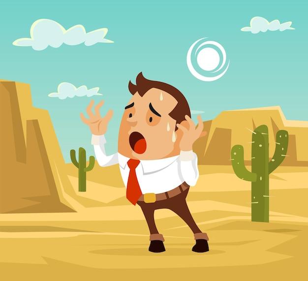 Postać człowieka zagubiona na pustyni. potrzebuję pomocy