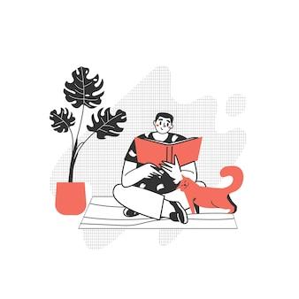 Postać czyta książkę. facet z pasją do czytania literatury. uwielbiam czytać nowoczesne teksty.