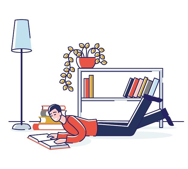 Postać czytania książek na podłodze w domu