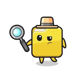 Postać detektywa folderu analizuje sprawę, ładny styl na koszulkę, naklejkę, element logo