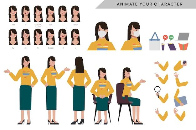Postać dla kobiecej postaci animowanej z twarzą emocji i ustami animacji.