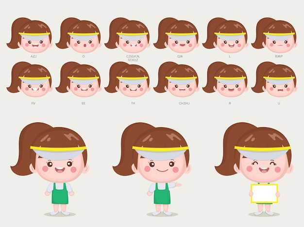 Postać dla ust i twarzy animacji ślicznej kobiety.
