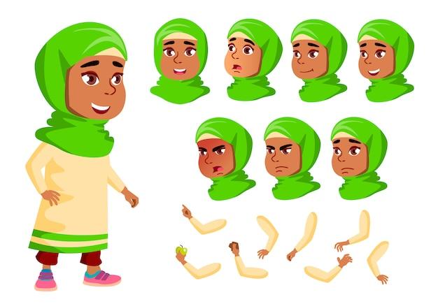 Postać dziecka. arab. kreator tworzenia animacji. twarz emocje, ręce.