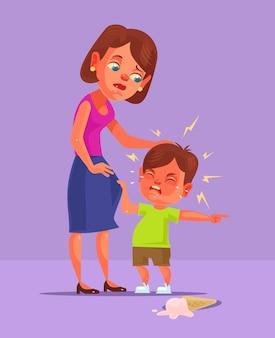 Postać dziecka złego chłopca żąda i płacze.