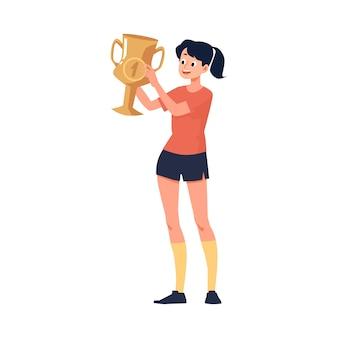 Postać dziewczyny lub młodej kobiety, która jako pierwsza wzięła udział w zawodach sportowych lub mistrzostwach