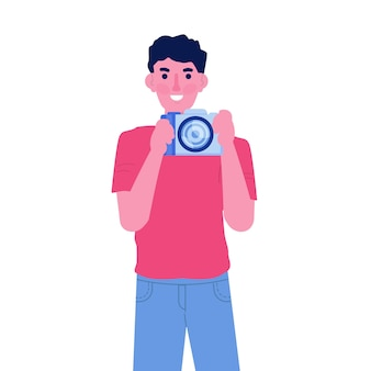 Postać fotografa lub paparazzi, korzystająca z koncepcji aparatu fotograficznego. ilustracja wektorowa płaski.