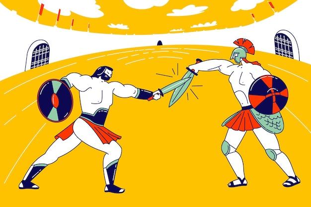 Postać gladiatora walcząca z barbarzyńcą na arenie coliseum, starożytny rzymski spartański wojownik w zbroi i walka wrzosowisk na mieczach, ilustracja kreskówka