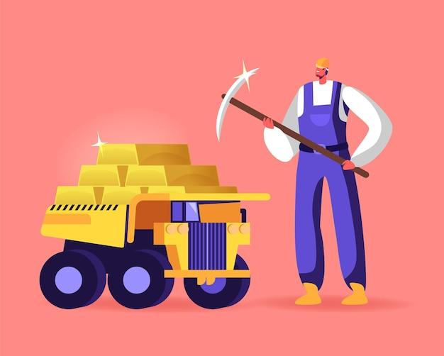 Postać górnika ze stojakiem na kilof w ciężarówce pełnej złotych sztabek.