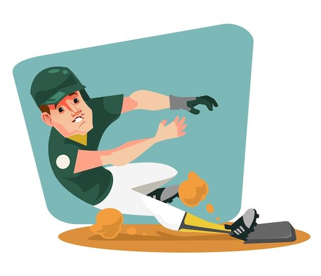 Postać gracza baseballu. ilustracja kreskówka