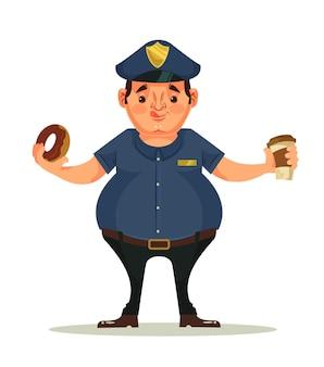 Postać grubego policjanta je pączki i pije kawę