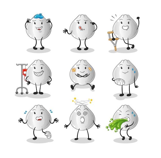 Postać grupy chorych na bułkę mięsną. kreskówka maskotka