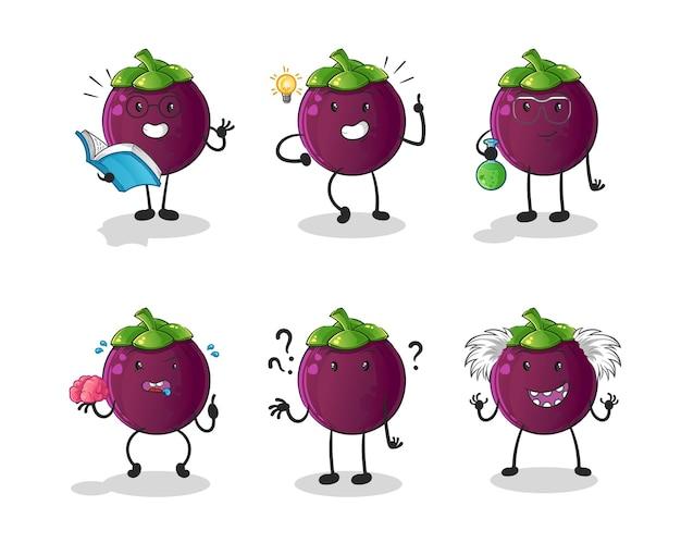 Postać grupy myślącej mangostanu. kreskówka maskotka