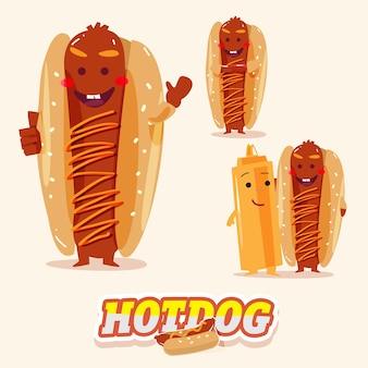 Postać hotdoga w różnych działaniach z projektem typograficznym.