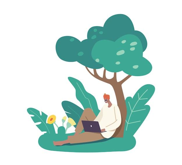 Postać indyjskiego rolnika w tradycyjne stroje zrelaksować się po pracy na polu siedząc pod drzewem z laptopem w rękach. człowiek wiejski robotnik rolny z nowoczesnym urządzeniem. ilustracja wektorowa kreskówka ludzie